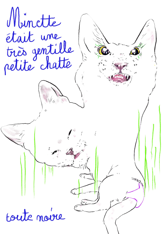 Ma chatte dessin numérique illustration Cécile Alvarez